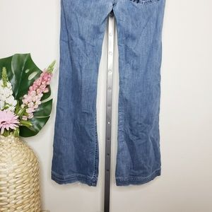 7 For All Mankind Jeans - 7FAM Distressed Medium Wash Flare Dojo Jeans